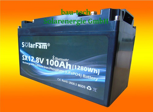 SolarFam Smart Lithium 100Ah 12V Batterie LiFePO4 mit BMS und Bluetooth