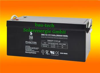 260Ah 12V Phaeton AGM GEL -Deep Cycle- Akku Batterie für Solar Wohnmobil Boot