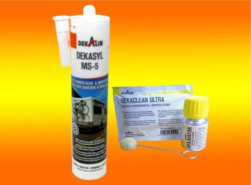 Klebeset Dekalin Dekasyl MS-5 in weiß für Wohnmobil Solarpanel Halterung