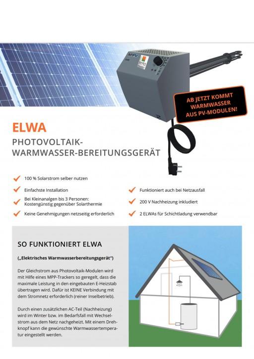 2KW ELWA Warmwasser Anlage mit Montagematerial Flachdach