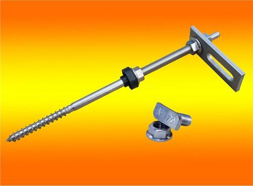 1 Stück Stockschraube M10x250 + Adapterplatte + Hammerkopfschraube + Sperrzahnmutter Edelstahl A2