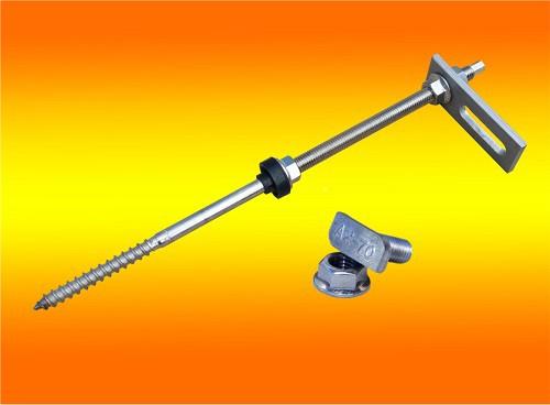1 Stockschraube M10x300 inkl. Adapterblech + Hammerkopfschr.+ Sperrzahnmutter A2