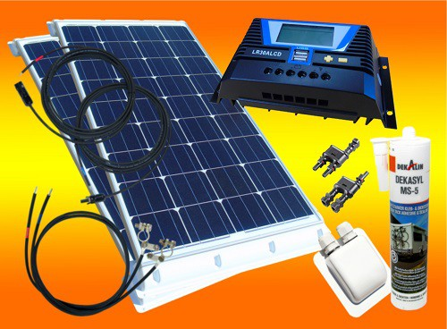 200 Watt Wohnmobil Camping Solaranlage, 12V SET, LCD Display