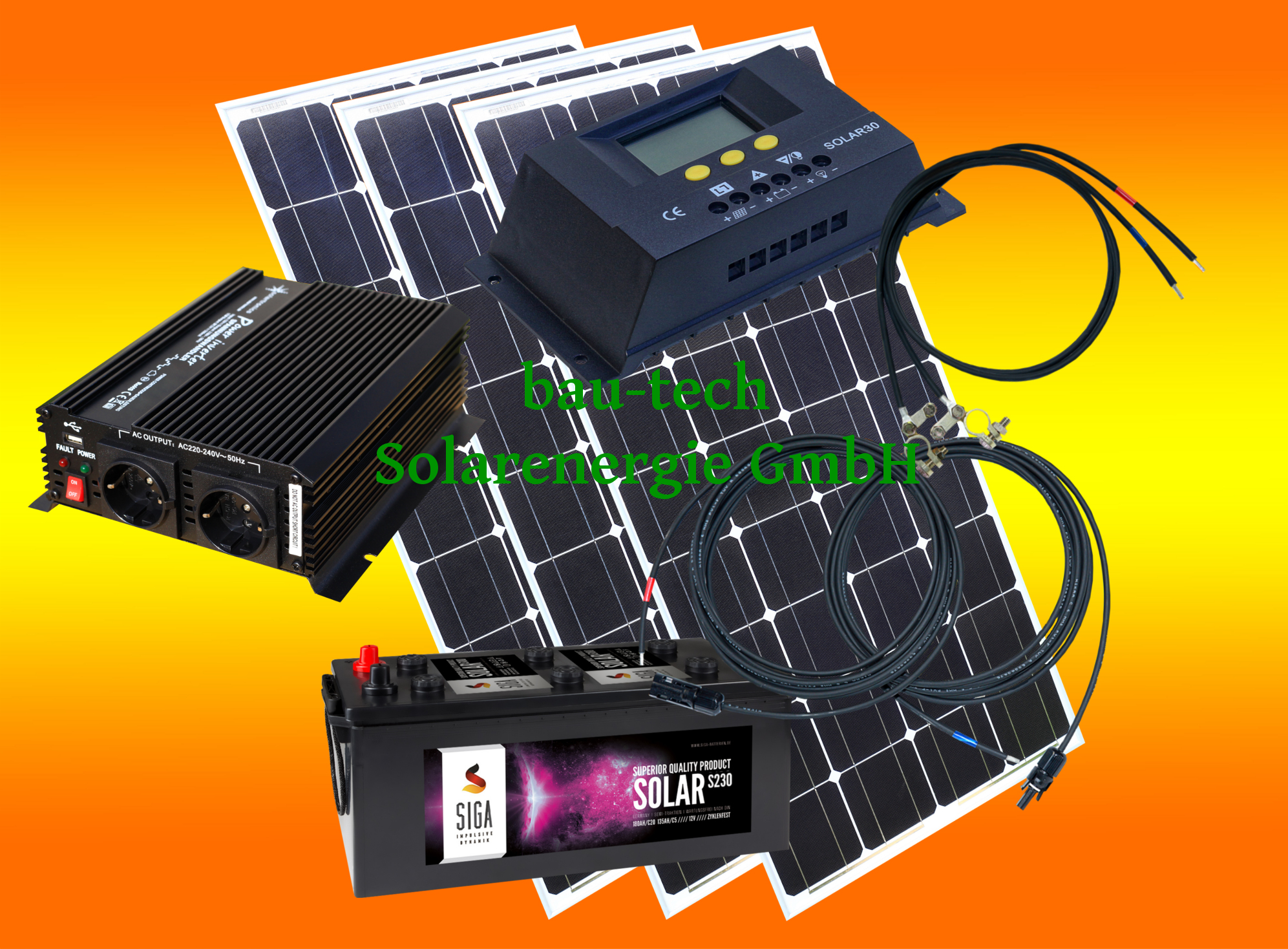300 watt camping solaranlage 12 volt set mit spannungswandler mit batterie ina0300wispb. Black Bedroom Furniture Sets. Home Design Ideas