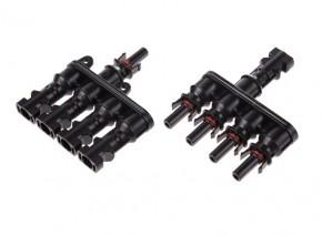 1 Paar Y 4-fach T Stecker für Photovoltaik Solarkabel Montage