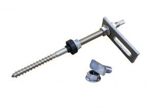 1 Stück Stockschraube M10 x 200 + Adapterplatte + Hammerkopfschraube + Sperrzahnmutter Edelstahl A2