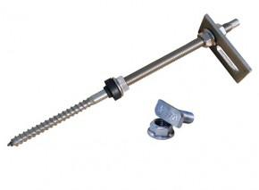 1 Stück Stockschraube M12 x 300 Edelstahl vormontiert mit Adapterblech + Hammerkopfschraube + Sperrzahnmutter
